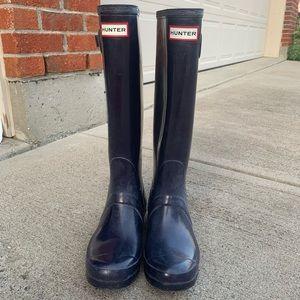 Hunter Boots in Navy Blue, Tall Original Gloss